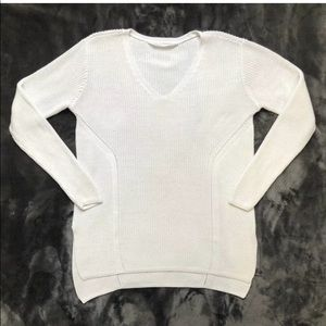 Athlete Women Mesh White Pullover Sweater Size L